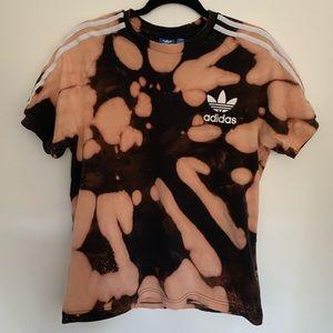 adidas Tops - Adidas Bleached White Stripe Black Tie Dye T-Shirt